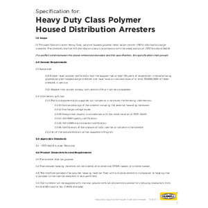 -1 Specification for IEEE Heavy Duty Class Distribution Arresters (TD01077E)
