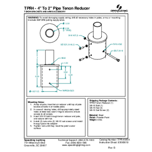"""TPR4 - 4"""" To 2"""" Pipe Tenon Reducer"""