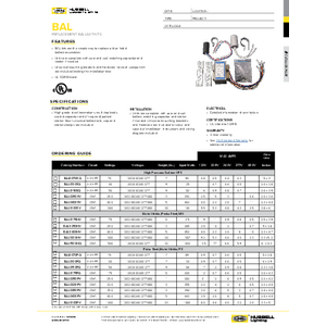 BAL Replacement Ballast Kits Specification Sheet