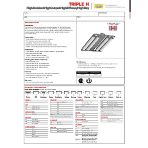 Triple H High Bay Specification Sheet